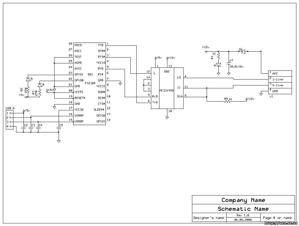 Схема Адаптера USB K-L-Line
